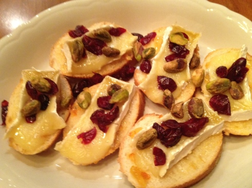 Brie Crostini with Cranberries & Pistachios