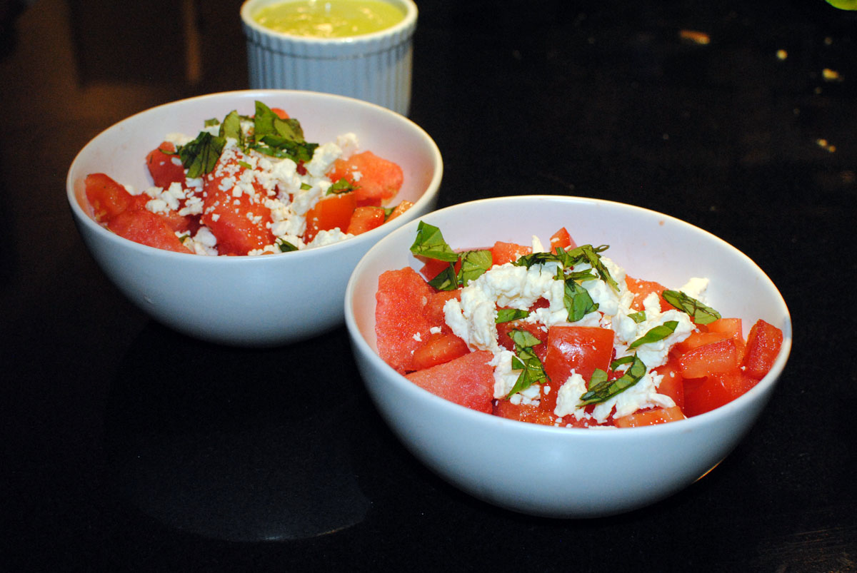 ... Cakes with Citrus Avocado Cream, Spicy-Sweet Corn and Watermelon Salad