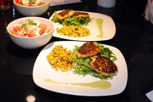 Crab Cakes with Citrus Avocado Cream and Spicy-Sweet Corn
